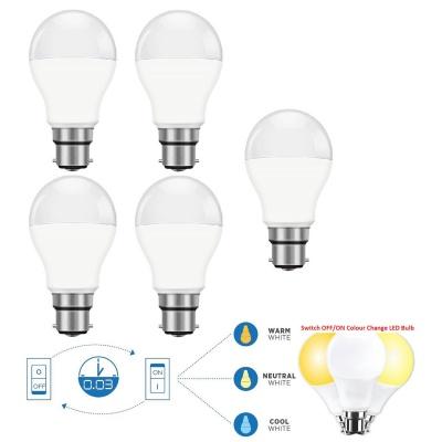 9-Watt 3 in 1 (Cool White, Warm White, Natural White) B22 LED Bulb - Pack of 5