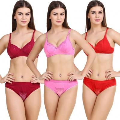 Cotton Lingerie Bra Panty Set for Women - Set of 3 ( Size-34 )