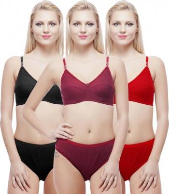 Spro Cotton Lingerie Bra Panty Set for Women - Set of 3 ( Size- 30 )