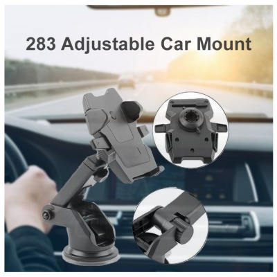 Telescopic One Touch Long Neck Arm 360 Degree Rotation Car Mobile Phone Holder with Ultimate Reusable Suction Cup Mount for Cars Dashboard/Windshield/Desktop (Black)