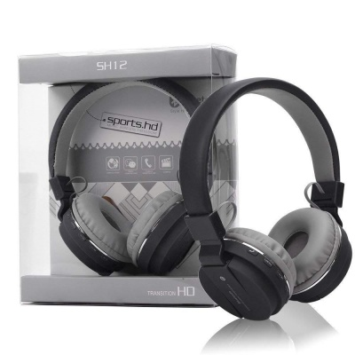 Wireless Headphones Stretchable SH-12 Fordable with Bluetooth and inbuilt Microphone and SD Card Slot