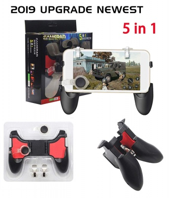 5 in 1 Mobile Gamepad Controller Joystick L1 R1 Fire Trigger for 4.5-6.5 inch Mobile Phone Android iOS for PUBG/Fortnite/Rules of Survival (Black/Red)