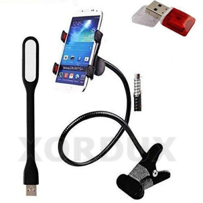 3 in 1 Offer : Full Metal Flexible Mobile Holder for Bed and Table Flexible Mobile Stand for Mobile Camera Video Recording Free USB Light and high Speed Card Reader Color May Very