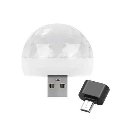Mini USB RGB LED Disco Stage Lighting Ball DJ Crystal Magic Light Home Party With Android Mini OTG Adapter