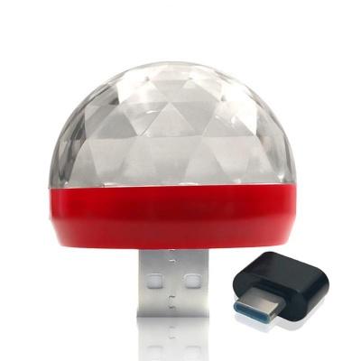 Mini USB RGB LED Disco Stage Lighting Ball DJ Crystal Magic Light Home Party With Type-C Mini OTG Adapter