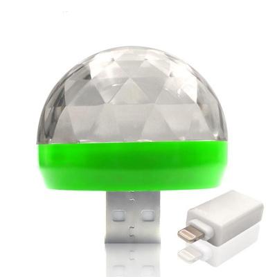 Mini USB RGB LED Disco Stage Lighting Ball DJ Crystal Magic Light Home Party With Iphone Mini OTG Adapter