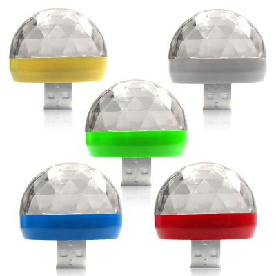 Mini USB RGB LED Disco Stage Lighting Ball DJ Crystal Magic Light Home Party - Pack of 5