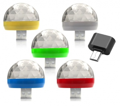 Mini USB RGB LED Disco Stage Lighting Ball DJ Crystal Magic Light Home Party With Android Mini OTG Adapter-Pack of 5