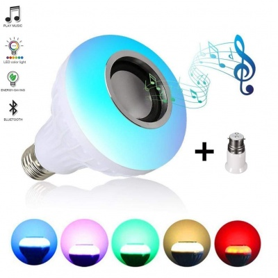 Led Bulb with Bluetooth Speaker Music Light Bulb B22 LED White + RGB Light Ball Bulb Colorful Lamp with Remote Control for Home, Bedroom, Living Room, Party Decoration