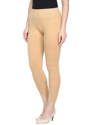 Women's Ankle Length Leggings Soft Cotton Lycra Fabric Slim Fit - Beige ( Free Size )