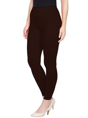 Women's Ankle Length Leggings Soft Cotton Lycra Fabric Slim Fit (Brown, Free Size)