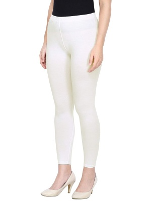 Women's Ankle Length Leggings Soft Cotton Lycra Fabric Slim Fit (Off-White, Free Size)