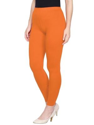 Women's Ankle Length Leggings Soft Cotton Lycra Fabric Slim Fit (Orange, Free Size)