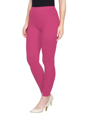 Women's Ankle Length Leggings Soft Cotton Lycra Fabric Slim Fit (Pink, Free Size)