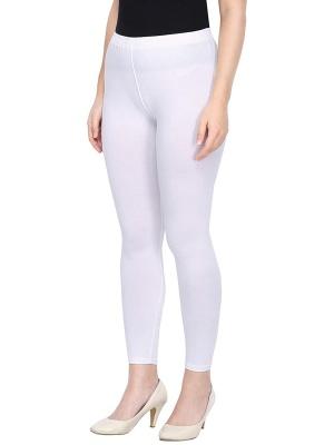 Women's Ankle Length Leggings Soft Cotton Lycra Fabric Slim Fit (White, Free Size)