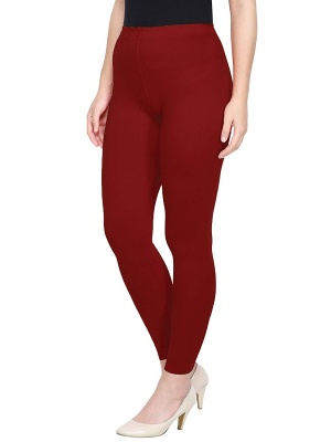 Women's Ankle Length Leggings Soft Cotton Lycra Fabric Slim Fit (Maroon, Free Size)
