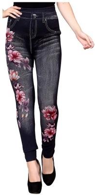 Women's Slim Fit Denim Printed Jeggings (Black) (Free Size 28 to 34 Waist)