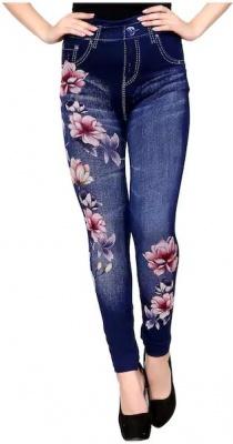 Women's Slim Fit Denim Printed Jeggings (Blue) (Free Size 28 to 34 Waist)