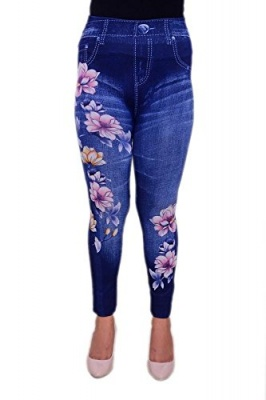 Bring a (Floral Printed Jeggings) for All Girls & Women's (Free Size) Blue