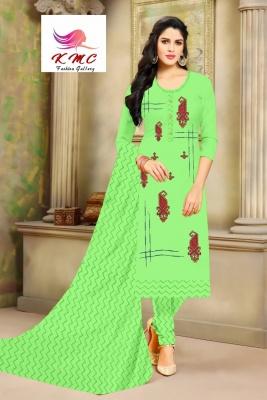 KMC Fashion Saheli Women's Cotton  Satin Semi-stitched Salwar Suit (Green ,Free Size)