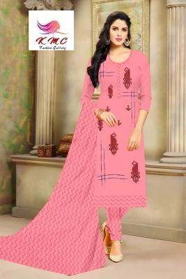 KMC Fashion Saheli Women's Cotton  Satin Semi-stitched Salwar Suit (Pink ,Free Size)