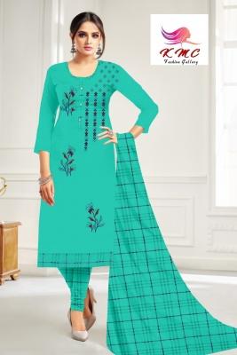 KMC Fashion  Mitwa Women's Cotton  Satin Semi-stitched Salwar Suit (Rama Green,Free Size)