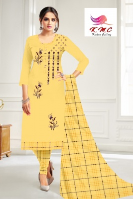 KMC Fashion  Mitwa Women's Cotton  Satin Semi-stitched Salwar Suit (Yellow,Free Size)