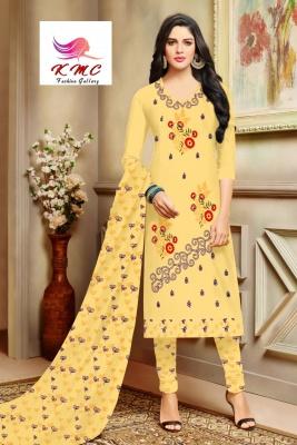 KMC Fashion  Sejal Women's Cotton  Satin Semi-stitched Salwar Suit (Yellow,Free Size)