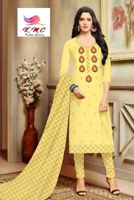 KMC Fashion  Shakti Women's Cotton  Satin Semi-stitched Salwar Suit (Yellow,Free Size)