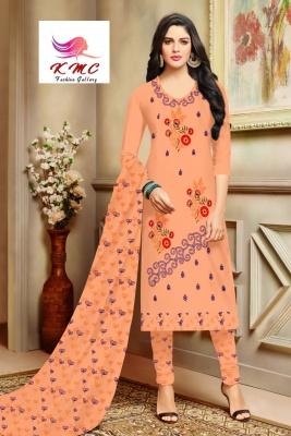 KMC Fashion  Sejal Women's Cotton  Satin Semi-stitched Salwar Suit (Orange,Free Size)