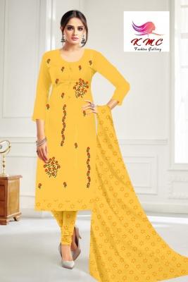 KMC Fashion  Dimpy Women's Cotton  Satin Semi-stitched Salwar Suit (Yellow,Free Size)