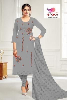 KMC Fashion  Dimpy Women's Cotton  Satin Semi-stitched Salwar Suit (Grey,Free Size)