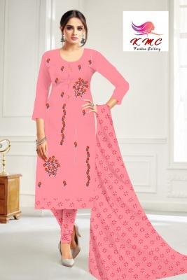 KMC Fashion  Dimpy Women's Cotton  Satin Semi-stitched Salwar Suit (Pink ,Free Size)