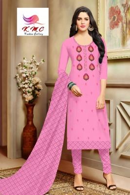 KMC Fashion  Shakti Women's Cotton  Satin Semi-stitched Salwar Suit (Pink ,Free Size)