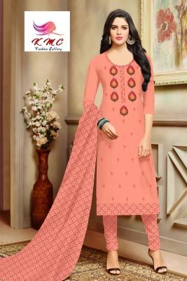 KMC Fashion  Shakti Women's Cotton  Satin Semi-stitched Salwar Suit (Orange,Free Size)