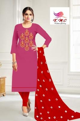 KMC Fashion Komal Women's Cotton Jam Satin Semi-stitched Salwar Suit (Pink ,Free Size)