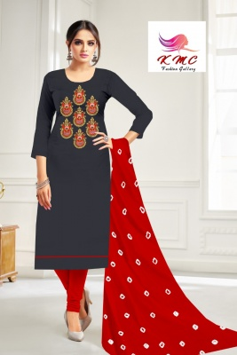 KMC Fashion Komal Women's Cotton Jam Satin Semi-stitched Salwar Suit (Grey,Free Size)