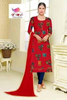 KMC Fashion Arti Women's Cotton Reyon Semi-stitched Salwar Suit (Red,Free Size)