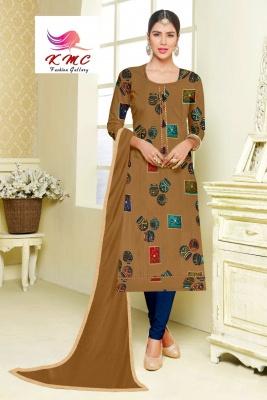 KMC Fashion Arti Women's Cotton Reyon Semi-stitched Salwar Suit (Grey,Free Size)