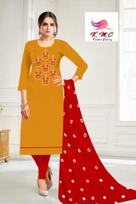 KMC Fashion Komal Women's Cotton Jam Satin Semi-stitched Salwar Suit (Yellow,Free Size)
