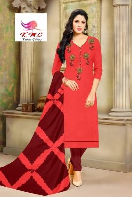 KMC Fashion Menka Women's Cotton Jam Satin Semi-stitched Salwar Suit (Orange ,Free Size)