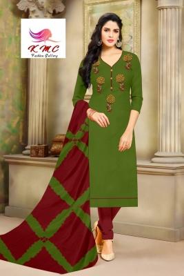 KMC Fashion Menka Women's Cotton Jam Satin Semi-stitched Salwar Suit (Green,Free Size)