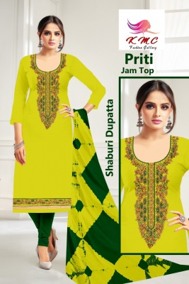 KMC Fashion Priti Women's Cotton Jam Satin Semi-stitched Salwar Suit (Yellow,Free Size)