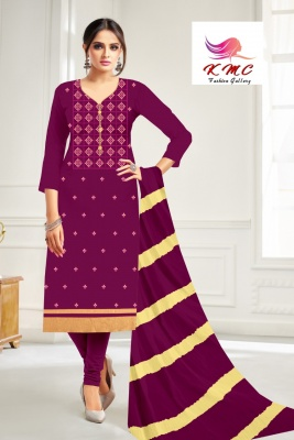 KMC Fashion Latika Women's Cotton Jam Satin Semi-stitched Salwar Suit (Purple,Free Size)