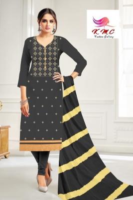 KMC Fashion Latika Women's Cotton Jam Satin Semi-stitched Salwar Suit (Grey,Free Size)