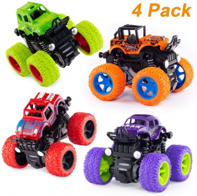 4 Pack 4WD Monster Truck Cars,Push and Go Toy Trucks Friction Powered Cars 4 Wheel Drive Vehicles for Toddlers Children Boys Girls Kids Gift-4PCS