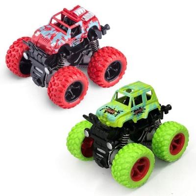 (2 Cars Pack) Mini Off-Road Vehicle Inertia Car Monster Truck Children Dump Truck Stunt Car Educational Toy Car Model Car Combo Pack (Assorted Colours / Graphics)