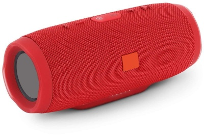 Charge-3 Bluetooth Speaker with Splashproof and Inbuilt Power Bank Functionality, AUX, USB Cable, FM Radio Included (red)