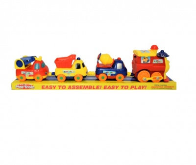 Toys Cute Cartoon Truck Set Toy Play Train Cartoon Train Set Without Track For Kids - 4 PC Set  (Multicolor)
