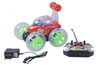 3D Flashing Light Rechargable Big Size 360 Degree Rotating Stunt Remote Control Car with Disco Light Car for Kids Doremon, Angry Bird and Ben 10 Style ( Color May Vary )